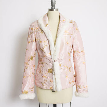 Vintage 1960s Jacket - Light Pink Nylon Chinese Embroidered Rabbit FUR trim - Small / Medium