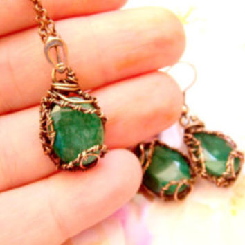 Emerald jewelry set, Copper emerald set, set emerald, emerald pendant, jewelry set, earrings emerald, Valentines gift for her FREE SHIPPING.