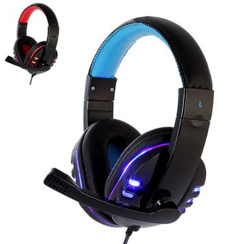 *CH1 stereo headphone headset casque Deep Bass Computer Gaming Headset PS4 with Mic LED Light for PC Game Gamer Earphone
