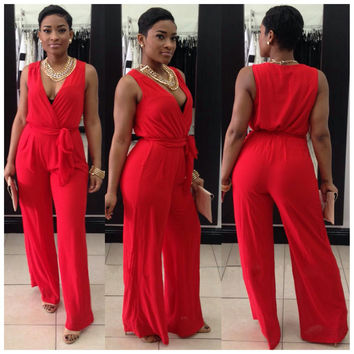 Red Wrapped Plunging Tie-Waist Romper