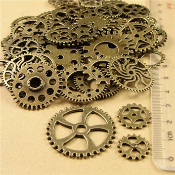 200 pcs Mixed Gear Charms Antique Bronze Steampunk Movement DIY Jewelry Charms