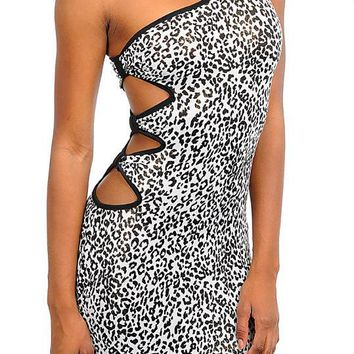Glitter One Shoulder Animal Print Dress in Black White Gold