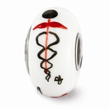 Sterling Silver White Hand Painted RX Medical Glass Bead