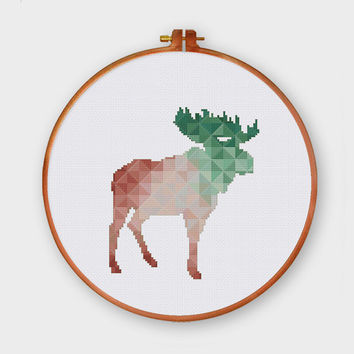 Geometric Moose, spring minimalist cross stitch pattern, mountain house wall hanging, modern cross stitch pattern, modern moose cross stitch