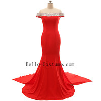 Cap Sleeve Red Prom Dress, Long Red Mermaid Prom Dresses, Red Evening Dress