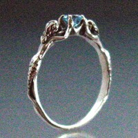 Two Mermaids Ring with Blue Topaz or Other Stone Size 9-1/4 to 13
