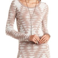Long Sleeve Aztec Tunic Sweater by Charlotte Russe - Taupe Combo