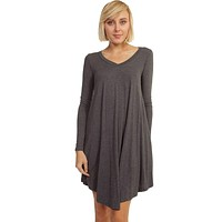 Crazy For This Girl Piko Dress in Charcoal