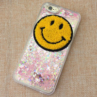Womens Shine Quicksand Smiling Face iPhone 5S 6 6S Plus Case High Quality Solid Cover + Nice Gift Box 451