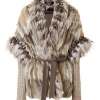 Roberto Cavalli - Natural Fur and Knit Combo Jacket
