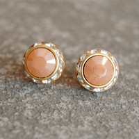 Peach Shimmer Earrings - Swarovski Crystal Peach Shimmer Rhinestone Stud Earrings - Sugar Sparklers Small - Mashugana
