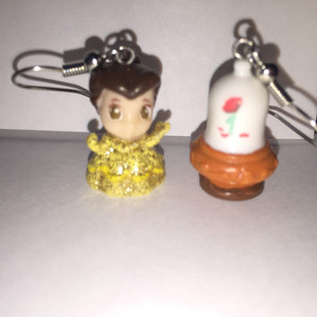Squinkies Earrings -  Belle and the Enchanted Rose - Beauty & The Beast - made from re-purposed toys