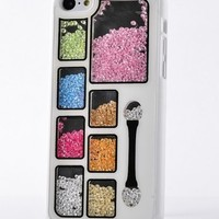 Big Mango Deluxe Bling Colorful Eyeshadow Cosmetic Box Moving Diamond Protective Shell / Hard Back Case Cover for Apple iPhone 5C ( At&t, Sprint, Verizon ) - White