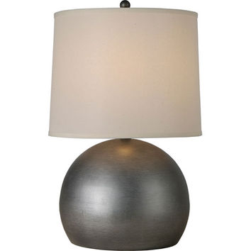 Trend TT7260-66 Latitude Hand Painted Weathered Pewter One-Light Table Lamp with Off-White Homespun Linen Shade