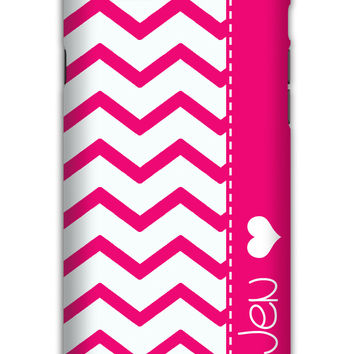 Pink chevron with heart - Monogrammed Iphone case for teens or tweens