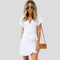 Women Lace Up White Mini Sexy V Neck Short Sleeve 2019 Summer Dresses Casual Beach Femme Short Dress Vestidos