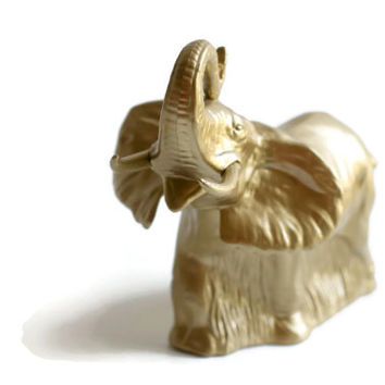 Gold Elephant , Avon Elephant , Upcycled , Upcycled Avon Elephant , African Decor , Jungle Decor , Vintage Elephant , Cologne Bottle