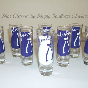 6 Personalized Shot Glasses, Bridesmaid and Bachelortette Wedding Party Glasses