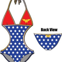 Wonder Woman Triangle Monokini One Piece Red