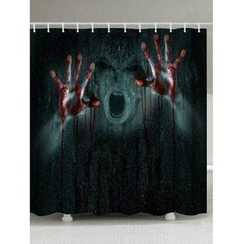 Bloody Hands Halloween Bathroom Shower Curtain