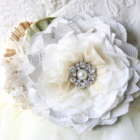 Floral Wedding Gown Sash - Ivory White and Silver Grey Blossom