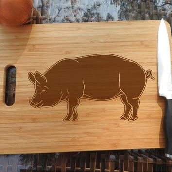 ikb242 Personalized Cutting Board Wood pork pig meat food restaurant