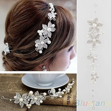 Crystal Rhinestone Faux Pearl Flower Party Bridal Headband Hair Band Tiara Clear = 1932703812