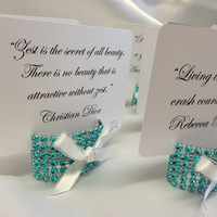 Tiffany Blue Wedding Place card holder with white ribbon, place card included