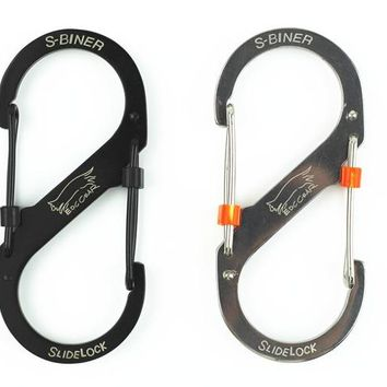 EDC Outdoor Stainless Steel 8-shaped Buckle Snap Clip Mount Climbing Carabiner Key Chain Hanging Backpack