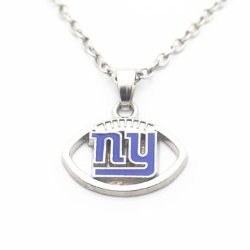 Newest 10pcs/lot 20 Inch Chains Necklace Football New York Giants Pendant Necklace For Women Men Necklace Jewelry