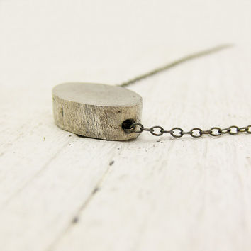 Brushed Sterling Silver Oval on Oxidized Sterling Silver by byjodi