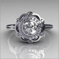 Classic 18K White Gold Round Diamond .50 CT Zirconia Bridal Ring R70-18KWGDCZ