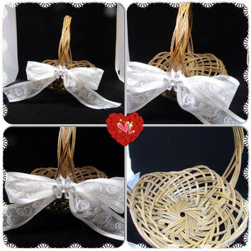 Unique Vintage Natural Woven Flower Girl Basket-White Bow With Hearts and Sparkle-Crystal Flower Accent-Wedding Decor-Home Decor-Gift Idea