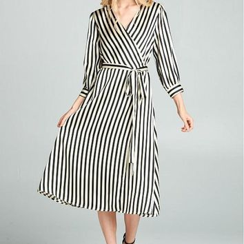 Women's Striped Silk Midi Wrap Dress