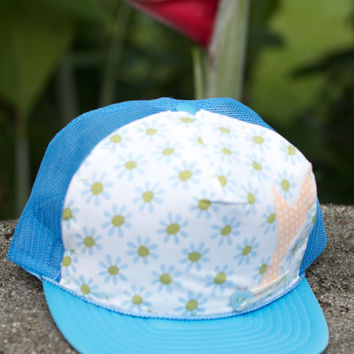 Sunkissed Cottage Mermaid Trucker Hat, Blue