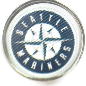 MLB Baseball Logo Seattle Mariners 18MM - 20MM Fashion Snap Jewelry Snap Charm New Item