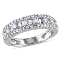 1 1/6 Carat Created White Sapphire Fashion Ring in Sterling Silver