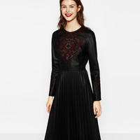 EMBROIDERED DRESS WITH PLEATED SKIRT