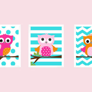 Hot Pink and Orange Owls on Aqua, CUSTOMIZE YOUR COLORS, 8x10 Prints, set of 3, Stripes, nursery decor nursery print art baby room decor