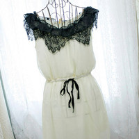 Edwardian marie antoinette cream pale baby yellow chiffon black fringed lace ruffles tank sun dress