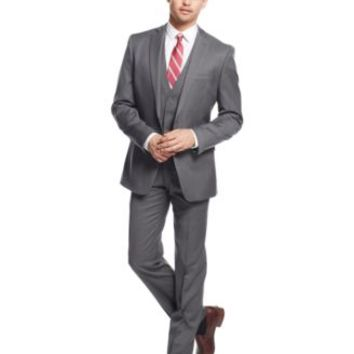 Bar III Mid-Grey Pindot Slim-Fit Suit Separates | macys.com