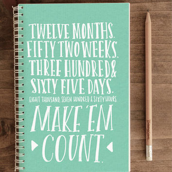 2014 12-Month Weekly Planner with Back Pocket – 365 Days Make 'Em Count