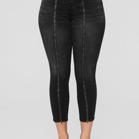 Stop Fronting High Rise Zip Front Jeans - Black
