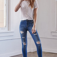 Kendall & Kylie Island Blue Ripped Ankle Zip Jeggings at PacSun.com