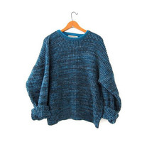 Vintage loose knit sweater. Oversized sweater. Speckled blue black gray sweater. Minimalist sweater.