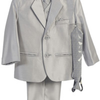 Boys Silver Metallic 7pc Suit w. 2-Button Jacket 6m-14