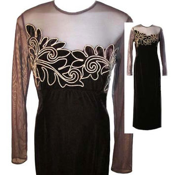 Vintage Long Evening Dress in Brown Velvet with Sheer Neckline by Scott McClintock - Size Medium (US Size 8)