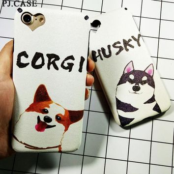 Cute Cartoon Dog Corgi Husky Phone Case Coque For iPhone 6s Plus Soft Gel Silk Texture Cover For iPhone 7 7 Plus Capa Funda Hull
