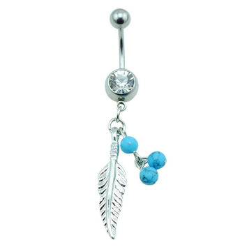 Dazzling Button Barbell Bar Belly Body Piercing Feather Dangle Navel Belly Button Ring Surgical Steel = 1695543172