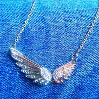 Angel Wing Necklace, Memorial Necklace, Tiny Charm Necklace, Angel Wing Charm, Friendship Necklace